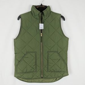 NEW womens green J CREW MERCANTILE quilted puffer